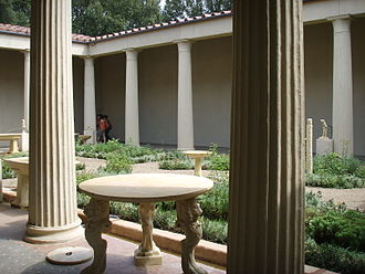 House of the Vettii - Reconstruction of the peristyle (without fresco decor), made for an exhibition in the Boboli Gardens, 2007