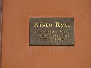 Risto Ryti - Plaque on the above building