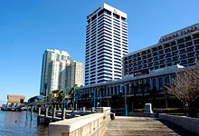 View of Riverplace Tower from the Southbank Riverwalk