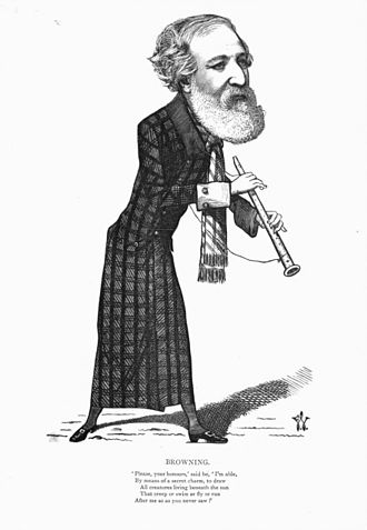 Robert Browning - Caricature by Frederick Waddy (1873)