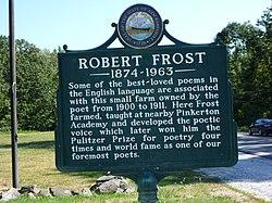 Photo of Robert Frost black plaque
