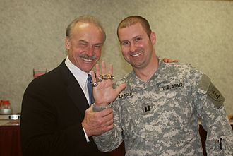 Rocky Bleier - Bleier (left) in 2009, showing his Super Bowl rings, which are being worn by U.S. Army Captain Larsen