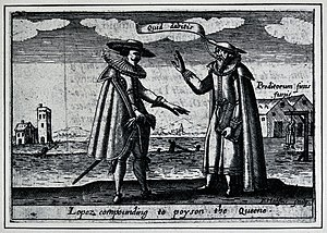 Roderigo Lopez - Lopez (right) speaking with a Spaniard. Engraving by Levinus Hulsius, 1627