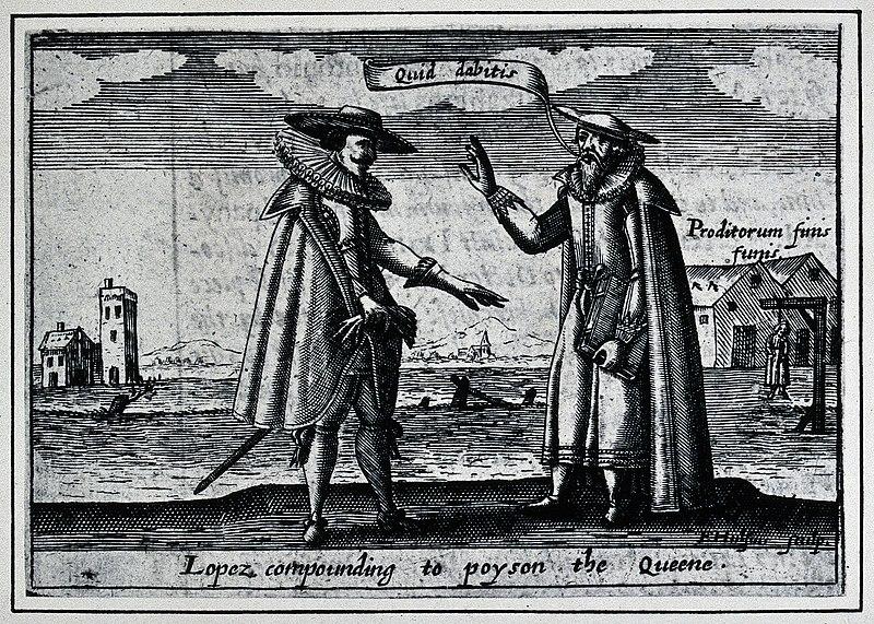 Rodrigo López es el personaje que aparece a la derecha de este grabado de E. Hulsius.