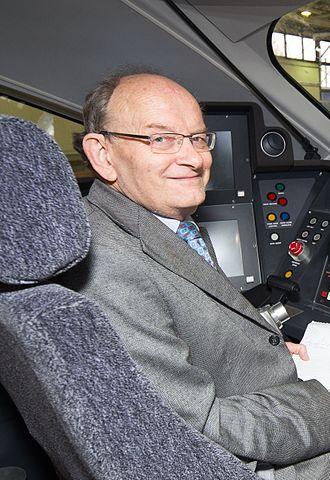 Roger Ford - In the cab of class 800002 at North Pole Train Maintenance Centre, 2015