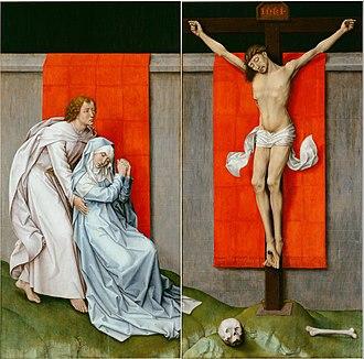 Crucifixion Diptych (van der Weyden) - Rogier van der Weyden, Crucifixion Diptych (c. 1460). Oil on oak panels. Left panel: 180.3 × 93.8 cm (71.0 × 36.9 in); right panel: 180.3 × 92.6 cm (71.0 × 36.5 in). Philadelphia Museum of Art