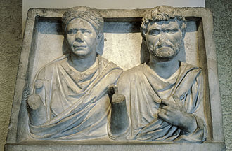 Married couple funerary reliefs - Framed grave relief, possibly from the Hadrianic or Antonine period (2nd century CE)