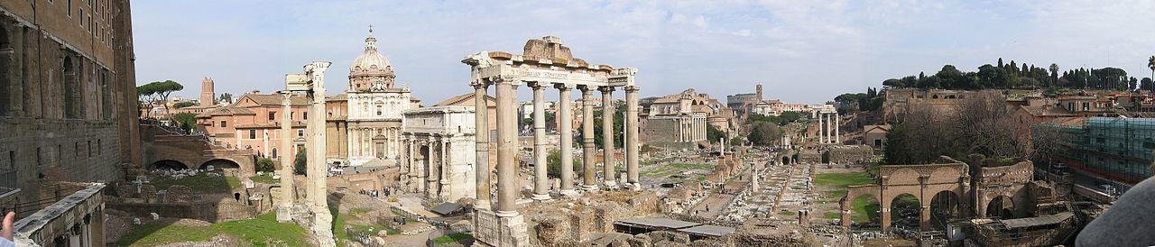 Panoramic view of the Forum Romanum.