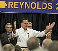 Romney acknowledges a warm welcome (5117906285).jpg