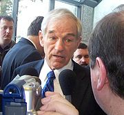 Ron Paul being interviewed the day of the New Hampshire primary in Manchester.