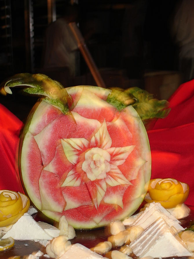 Rose carved on a watermelon