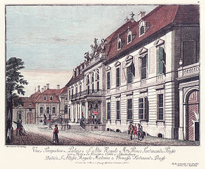 Wilhelmplatz - Front of the Ordenspalais; the left annex of the Palais Schulenburg (old Imperial Chancellory) in the background; engraving by Johann Georg Rosenberg, around 1785