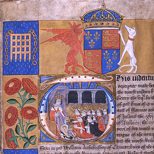 Sedition Act (Singapore) - A detail of an illuminated capital from a 1504 document showing Henry VII receiving dignitaries in the Star Chamber. The chamber lent its name to a court of law that decided, in the 1572 case De Libellis Famosis, that seditious libel was a criminal offence.
