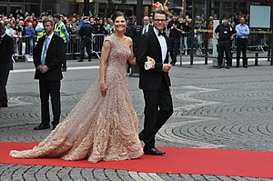 Black tie - Sweden's Crown Princess Victoria and Prince Daniel Westling arriving at the Riksdag's Black Tie Gala Performance on the eve of their wedding.