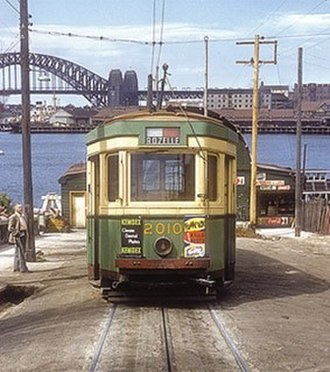 Balmain, New South Wales - An electric tram at Darling Street Wharf in 1951