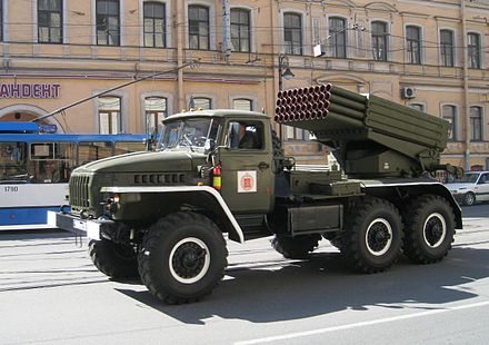 "BM-21 launch vehicle (Russian: BM-21 ""Grad""), (Grad) a Soviet truck-mounted 122 mm multiple rocket launcher. Russian BM-21 Grad in Saint Petersburg.JPG"