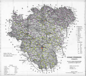 Sáros County - Ethnic map of the county with data of the 1910 census (see the key in the description).
