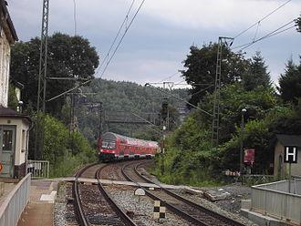 Děčín–Dresden-Neustadt railway - Double-decker S-Bahn train approaching the spa town of Rathen