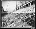 SS CERAMIC departing the White Star Line wharf at Millers Point, with crowds and streamers, 1920-1939 (7869543196).jpg