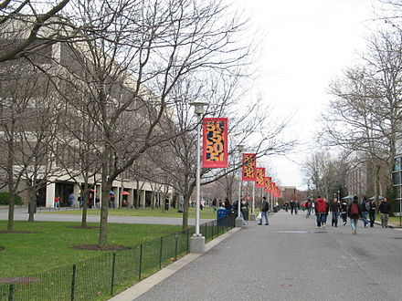 The academic mall across Stony Brook University's main campus SUNY SB MaibAlley.JPG