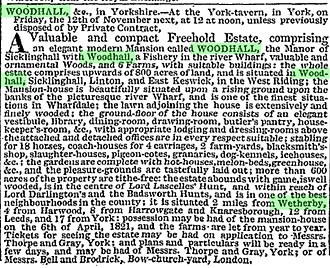 Wood Hall Hotel and Spa - Sale ad for Wood Hall in 1819