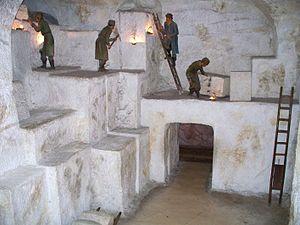 Salt mining - Diorama of an underground salt mine in Germany.