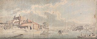 A Thames Wharf with Westminster Bridge in the Distance