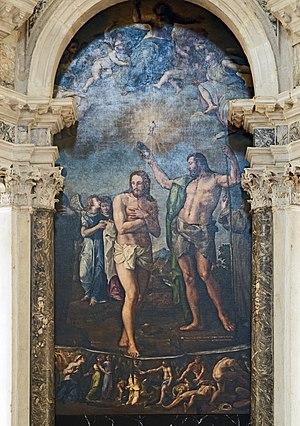 Battista Franco Veneziano - Image: San Giovanni Battista battezza Cristo nel Giordano di Battista Franco 1555