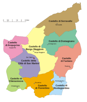 Municipalities of San Marino - Location of the 9 castelli of San Marino