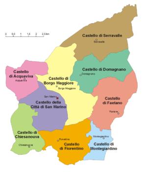 Map of the municipalities (castelli) of San Marino