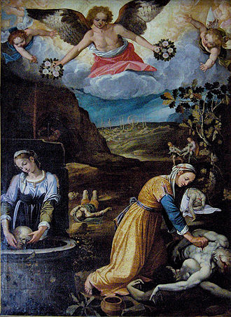 Santa Pudenziana - St Praxedes and Pudenziana collecting the Blood of the Martyrs by Giovanni Paolo Rossetti