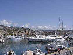 Panorama of Sanremo from the harbour.