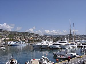 Sanremo - Panorama of Sanremo from the harbour