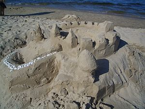 English: Sandcastle on the beach of Ahlbeck Fr...
