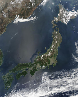 Satellite image of Japan in May 2003. :The isl...