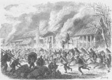 Destruction of the Palace of Satsuma by Shogunate forces in Edo