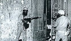 Saudi and Jordanian soldiers fighting their way into the Ka'aba underground beneath the Grand Mosque of Mecca, 1979