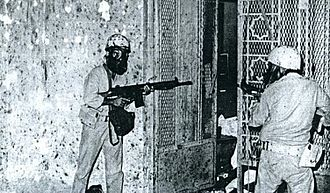 1979 Grand Mosque seizure - Saudi soldiers fighting their way into the Ka'aba underground beneath the Grand Mosque of Mecca, 1979