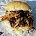 Sausage and onion roll, Market Square Saffron Walden.jpg