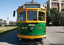 Car 756 of the River Street Streetcar line in Savannah, Georgia, USA, is an ex-Melbourne SW5-class streetcar.