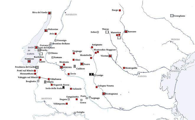 Karte Gardasee Lazise.Liste Der Scaligerburgen Wikipedia