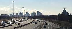 Skyline of Scarborough viewed along westbound Highway 401