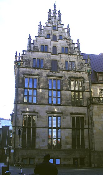 Schütting (Bremen) - The western gable from 1537/38 with elements of Late Gothic style