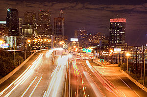 Schuylkill Expressway - Eastbound Schuylkill Expressway approaching Center City Philadelphia