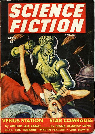 Future Science Fiction and Science Fiction Stories - Cover of the April 1943 issue of Future Fiction, usually indexed under that title although this issue is titled Science Fiction Stories.  The artwork is by Milton Luros.