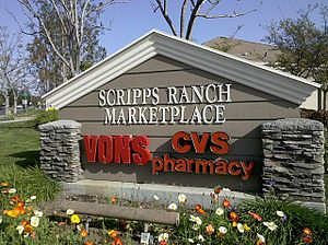 Scripps Ranch, San Diego - This is the sign on the corner of Scripps Poway Parkway and Scripps Summit Drive. The shopping center is one of the biggest in the community.