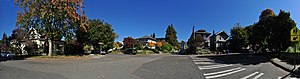 Queen Anne Boulevard - One of the many turns of Queen Anne Boulevard, here from W Wheeler Street (at left) to 8th Ave W (at right). The roughly 270° panorama here is looking slightly north of east; the Coe School can be seen cutting off W Wheeler Street slightly right of center.
