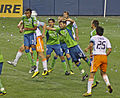 Seattle Sounders vs Houston Dynamo, Sounders defending 08122010.jpg