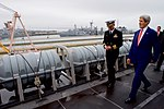 Secretary Kerry Walks Along the Upper Deck of the USS San Antonio (22902365736).jpg