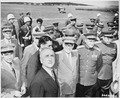 Secretary of State James Byrnes is greeted by military officers of the Soviet Union at Gatow Airport in Berlin... - NARA - 198860.tif